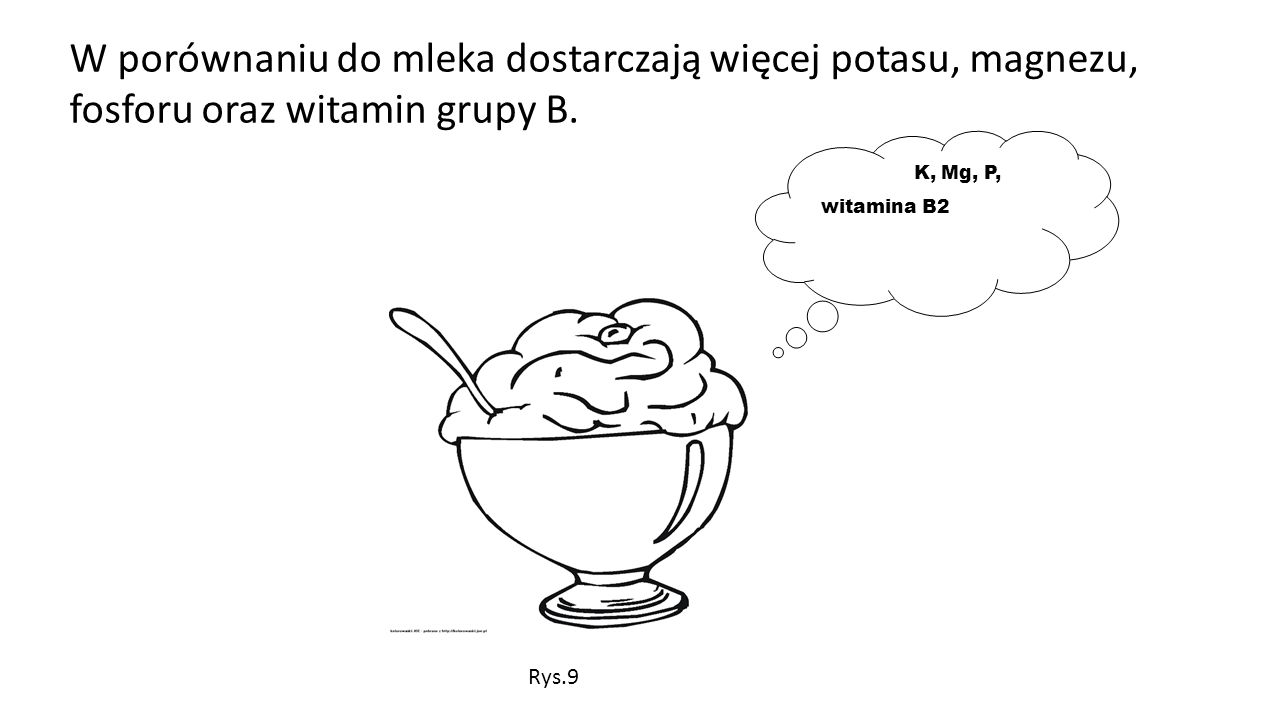 W porównaniu do mleka dostarczają więcej potasu, magnezu, fosforu oraz witamin grupy B. K, Mg, P, witamina B2 Rys.9