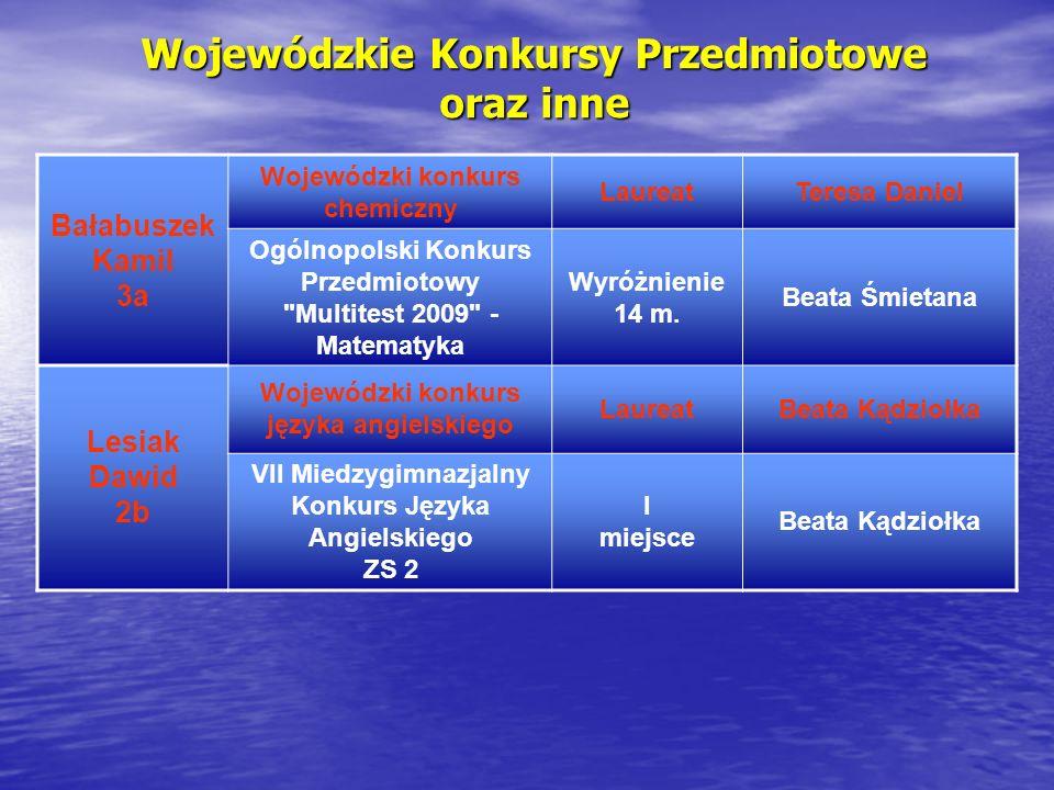 Wojewódzkie Konkursy Przedmiotowe oraz inne Bałabuszek Kamil 3a Wojewódzki konkurs chemiczny LaureatTeresa Daniel Ogólnopolski Konkurs Przedmiotowy Multitest 2009 - Matematyka Wyróżnienie 14 m.