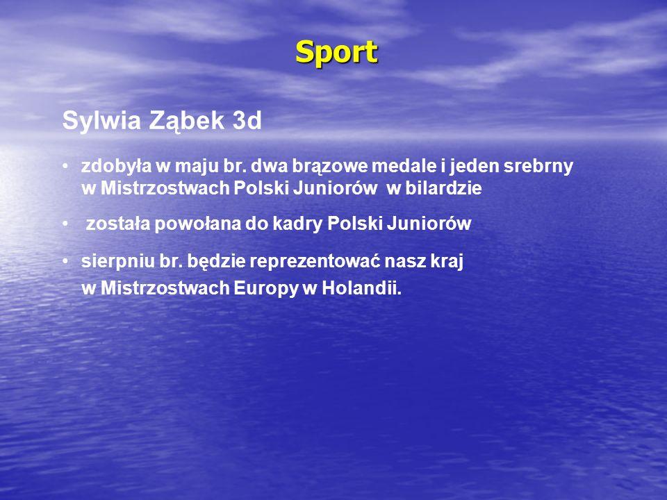 Sport Sylwia Ząbek 3d zdobyła w maju br. dwa brązowe medale i jeden srebrny w Mistrzostwach Polski Juniorów w bilardzie została powołana do kadry Pols