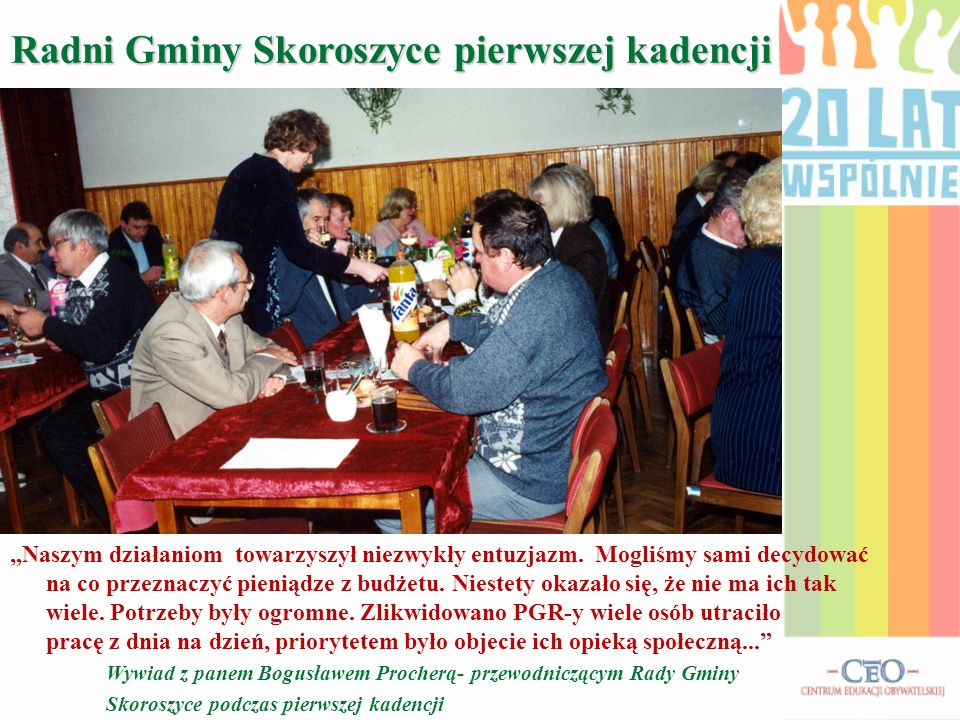 Historia Rady Gminy Skoroszyce w latach 1990- 1994 Na pierwszym posiedzeniu rady wybraliśmy przewodniczącego. Został nim Pan Bogusław Prochera- człowi