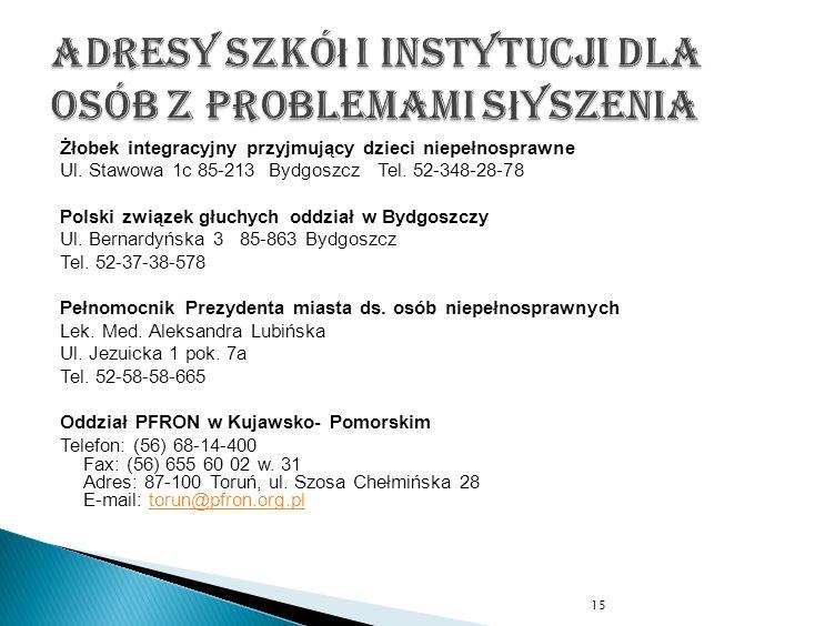 Żłobek integracyjny przyjmujący dzieci niepełnosprawne Ul. Stawowa 1c 85-213 Bydgoszcz Tel. 52-348-28-78 Polski związek głuchych oddział w Bydgoszczy