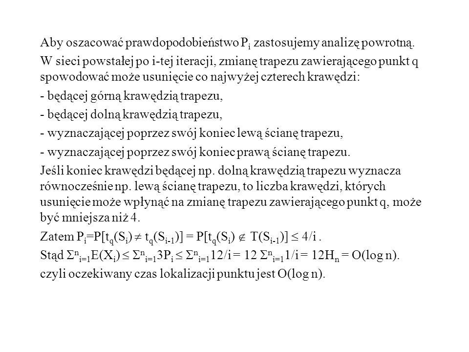 Aby oszacować prawdopodobieństwo P i zastosujemy analizę powrotną. W sieci powstałej po i-tej iteracji, zmianę trapezu zawierającego punkt q spowodowa