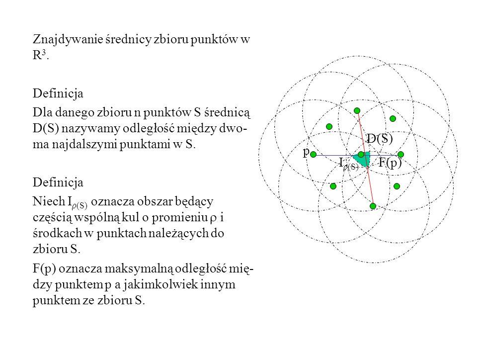 I (S) D(S) Znajdywanie średnicy zbioru punktów w R 3. Definicja Dla danego zbioru n punktów S średnicą D(S) nazywamy odległość między dwo- ma najdalsz