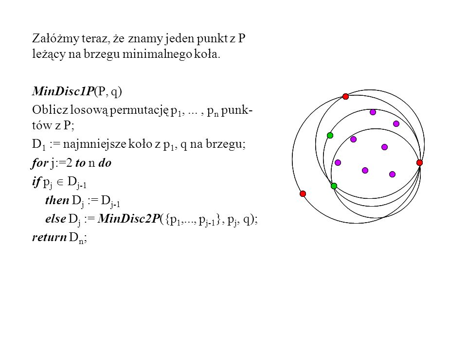 Załóżmy teraz, że znamy jeden punkt z P leżący na brzegu minimalnego koła. MinDisc1P(P, q) Oblicz losową permutację p 1,..., p n punk- tów z P; D 1 :=