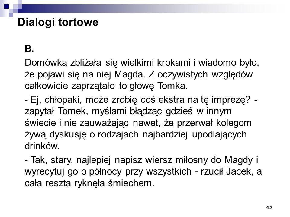 13 Dialogi tortowe B. Domówka zbliżała się wielkimi krokami i wiadomo było, że pojawi się na niej Magda. Z oczywistych względów całkowicie zaprzątało