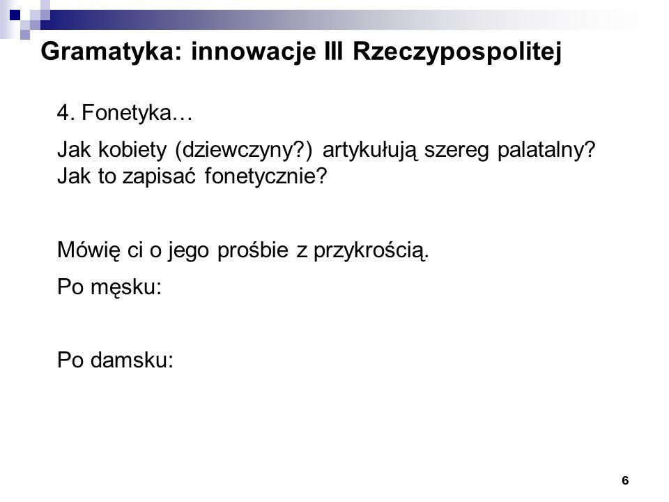 6 Gramatyka: innowacje III Rzeczypospolitej 4. Fonetyka… Jak kobiety (dziewczyny?) artykułują szereg palatalny? Jak to zapisać fonetycznie? Mówię ci o
