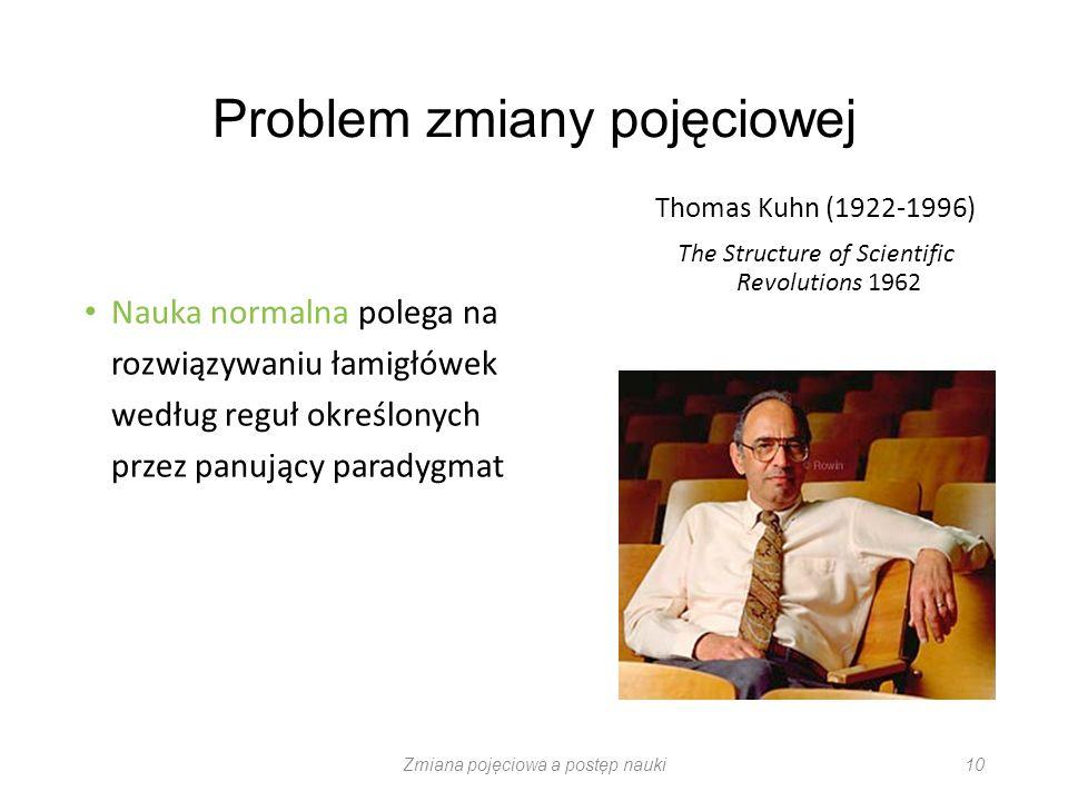 Problem zmiany pojęciowej Nauka normalna polega na rozwiązywaniu łamigłówek według reguł określonych przez panujący paradygmat Thomas Kuhn (1922-1996)