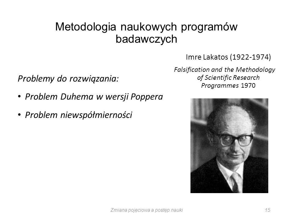 Metodologia naukowych programów badawczych Problemy do rozwiązania: Problem Duhema w wersji Poppera Problem niewspółmierności Imre Lakatos (1922-1974)