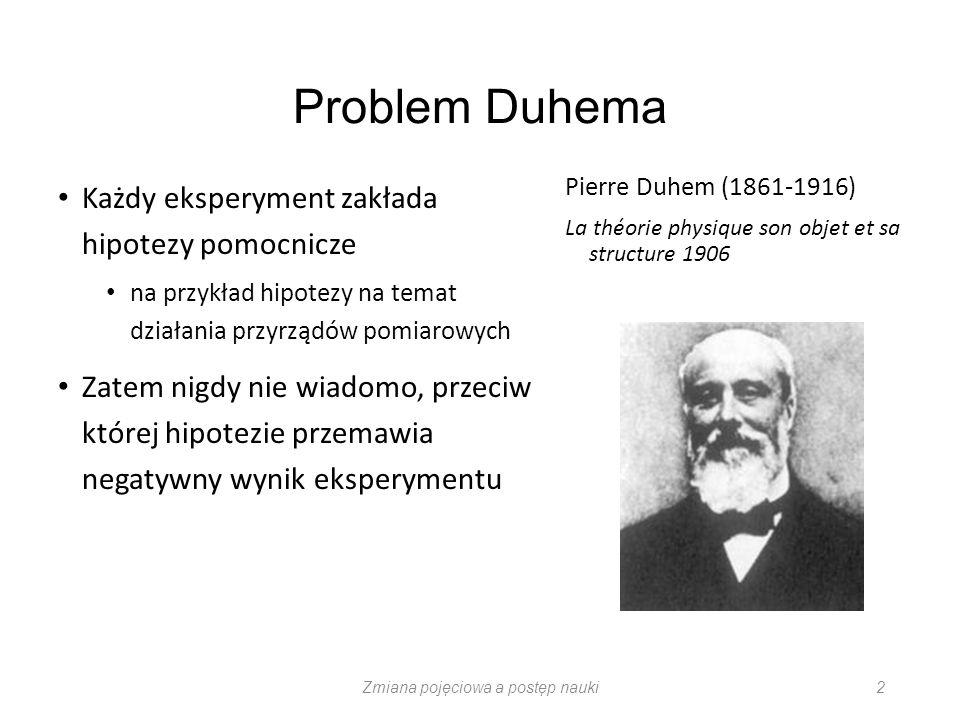 Problem Duhema Każdy eksperyment zakłada hipotezy pomocnicze na przykład hipotezy na temat działania przyrządów pomiarowych Zatem nigdy nie wiadomo, p