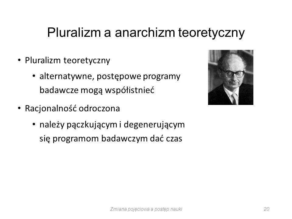 Zmiana pojęciowa a postęp nauki 20 Pluralizm a anarchizm teoretyczny Pluralizm teoretyczny alternatywne, postępowe programy badawcze mogą współistnieć