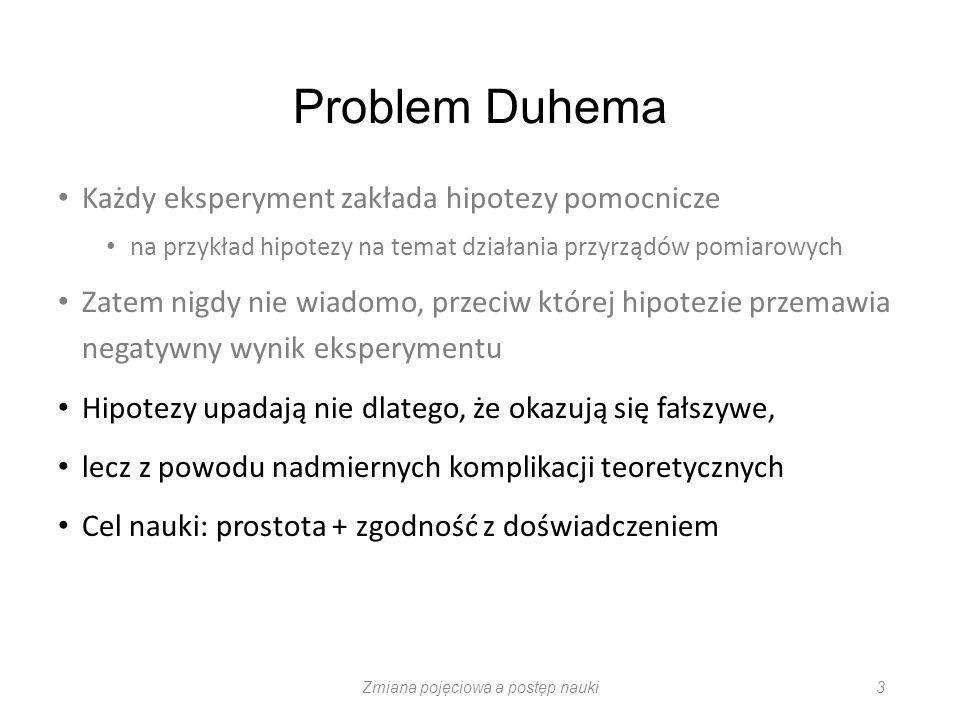 Problem zmiany pojęciowej Problem niewspółmierności podważa projekt poszukiwania logiki nauki logiki indukcji metodę hipotetyczno-dedukcyjną Thomas Kuhn (1922-1996) The Structure of Scientific Revolutions 1962 Zmiana pojęciowa a postęp nauki 14