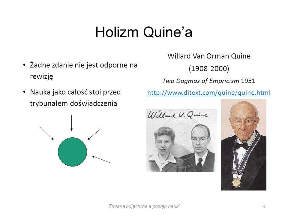 Holizm Quinea Żadne zdanie nie jest odporne na rewizję Nauka jako całość stoi przed trybunałem doświadczenia Willard Van Orman Quine (1908-2000) Two D