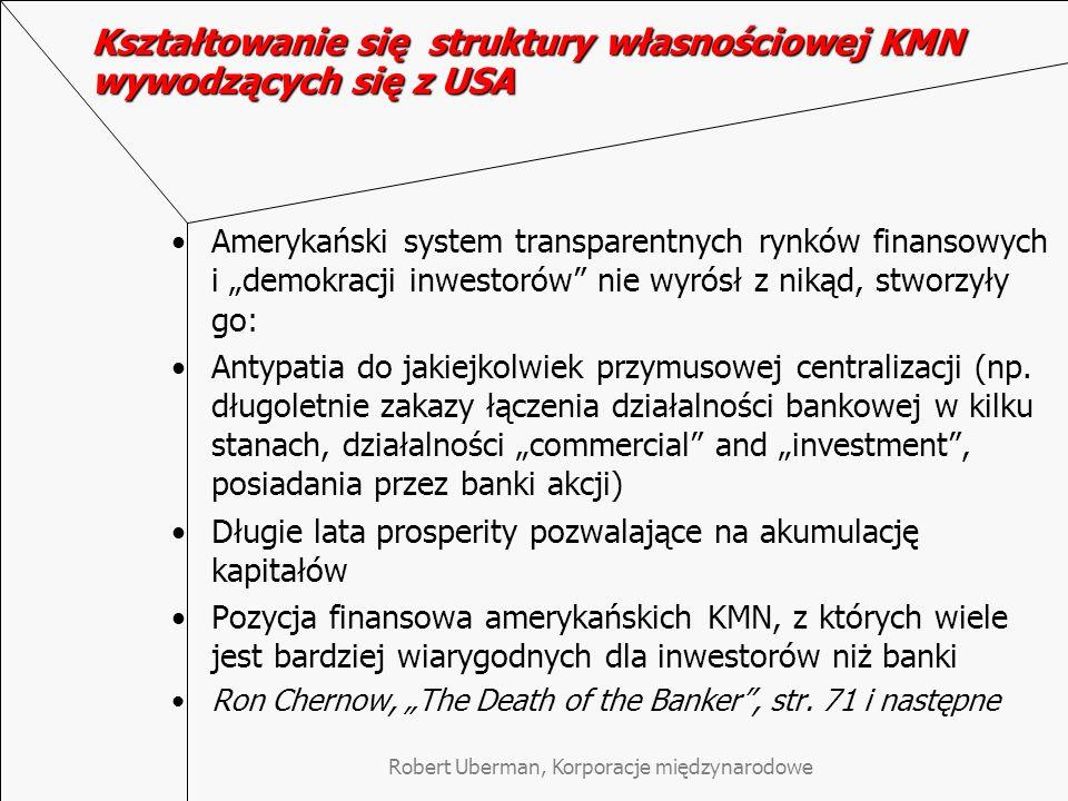 Robert Uberman, Korporacje międzynarodowe Kształtowanie się struktury własnościowej KMN wywodzących się z Niemiec Niemcy, w przeciwieństwie do USA faworyzowały ekonomiczną i polityczną koncentrację Kolejne kryzysy: konfiskata aktywów zagranicznych podczas I WŚ, hiperinflacja 1923 roku oraz Wielki Kryzys 1929 r.