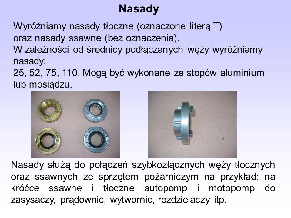 Wyróżniamy nasady tłoczne (oznaczone literą T) oraz nasady ssawne (bez oznaczenia). W zależności od średnicy podłączanych węży wyróżniamy nasady: 25,