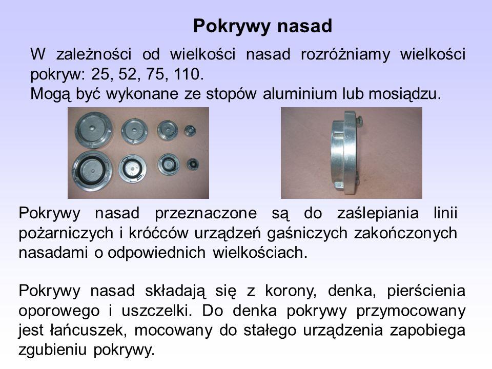 Pokrywy nasad W zależności od wielkości nasad rozróżniamy wielkości pokryw: 25, 52, 75, 110. Mogą być wykonane ze stopów aluminium lub mosiądzu. Pokry