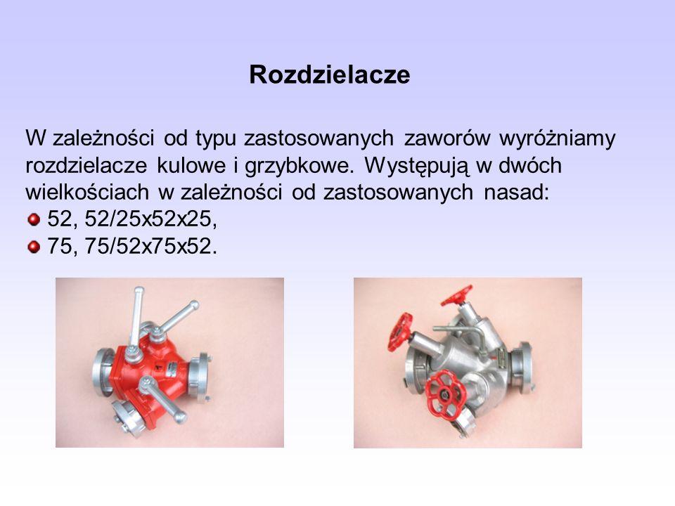 Rozdzielacze W zależności od typu zastosowanych zaworów wyróżniamy rozdzielacze kulowe i grzybkowe. Występują w dwóch wielkościach w zależności od zas