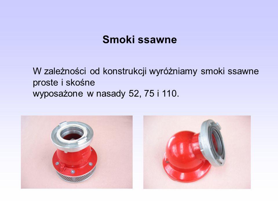 W zależności od konstrukcji wyróżniamy smoki ssawne proste i skośne wyposażone w nasady 52, 75 i 110. Smoki ssawne