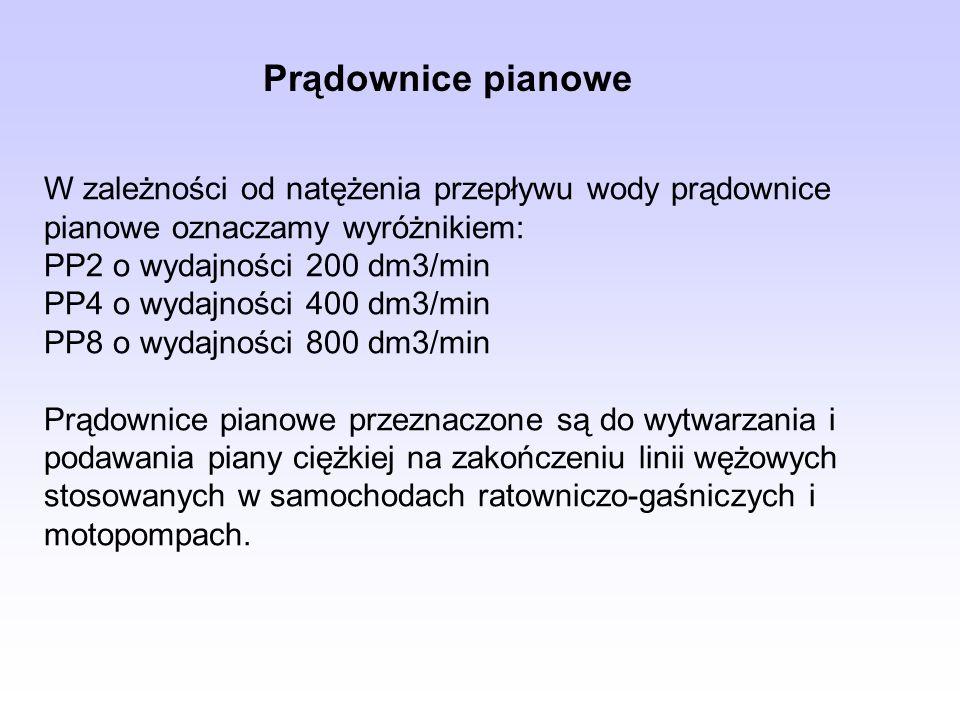Prądownice pianowe W zależności od natężenia przepływu wody prądownice pianowe oznaczamy wyróżnikiem: PP2 o wydajności 200 dm3/min PP4 o wydajności 40