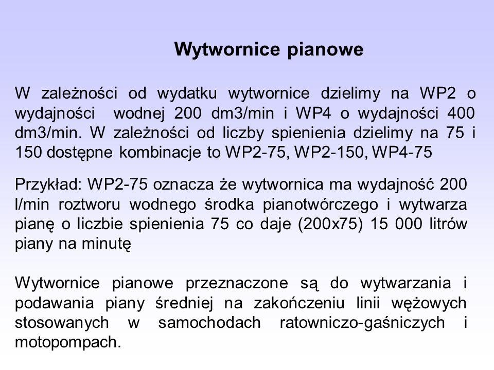 Wytwornice pianowe W zależności od wydatku wytwornice dzielimy na WP2 o wydajności wodnej 200 dm3/min i WP4 o wydajności 400 dm3/min. W zależności od