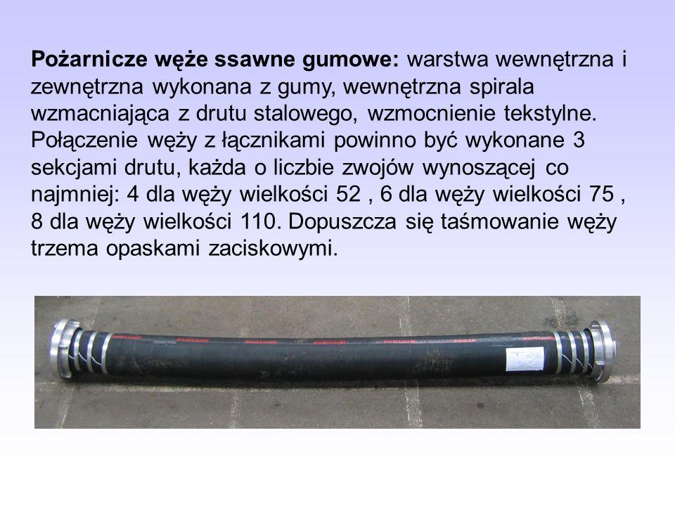 Pożarnicze węże ssawne gumowe: warstwa wewnętrzna i zewnętrzna wykonana z gumy, wewnętrzna spirala wzmacniająca z drutu stalowego, wzmocnienie tekstyl