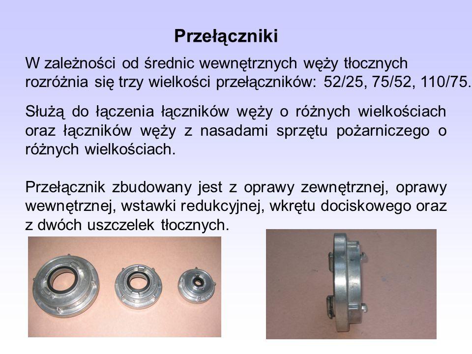 W zależności od średnic wewnętrznych węży tłocznych rozróżnia się trzy wielkości przełączników: 52/25, 75/52, 110/75. Przełączniki Służą do łączenia ł