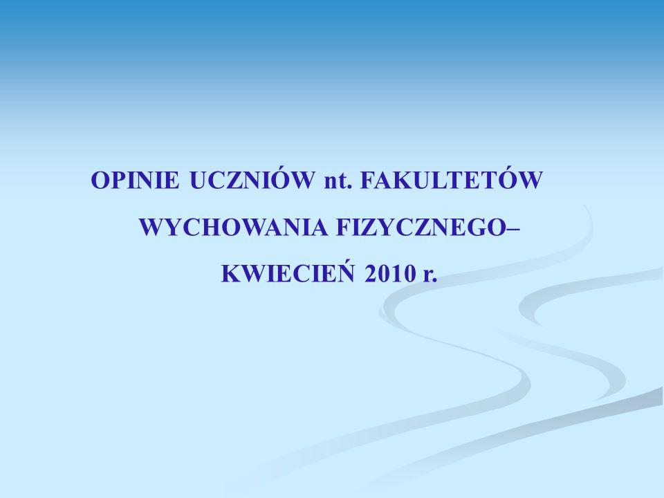 OPINIE UCZNIÓW nt. FAKULTETÓW WYCHOWANIA FIZYCZNEGO– KWIECIEŃ 2010 r.