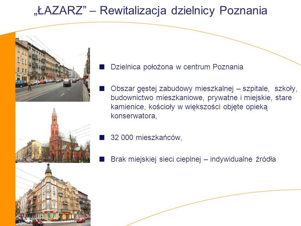 ŁAZARZ – Rewitalizacja dzielnicy Poznania Dzielnica położona w centrum Poznania Obszar gęstej zabudowy mieszkalnej – szpitale, szkoły, budownictwo mieszkaniowe, prywatne i miejskie, stare kamienice, kościoły w większości objęte opieką konserwatora, 32 000 mieszkańców, Brak miejskiej sieci cieplnej – indywidualne źródła