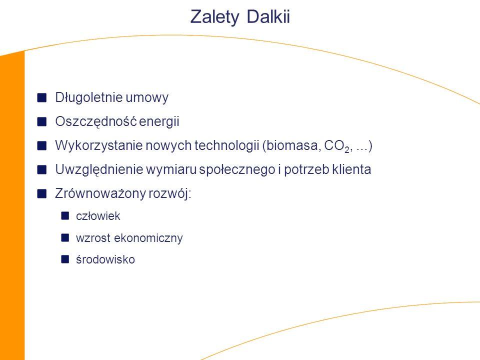 Zalety Dalkii Długoletnie umowy Oszczędność energii Wykorzystanie nowych technologii (biomasa, CO 2,...) Uwzględnienie wymiaru społecznego i potrzeb klienta Zrównoważony rozwój: człowiek wzrost ekonomiczny środowisko