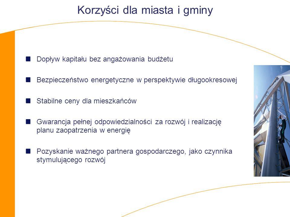Korzyści dla miasta i gminy Dopływ kapitału bez angażowania budżetu Bezpieczeństwo energetyczne w perspektywie długookresowej Stabilne ceny dla mieszkańców Gwarancja pełnej odpowiedzialności za rozwój i realizację planu zaopatrzenia w energię Pozyskanie ważnego partnera gospodarczego, jako czynnika stymulującego rozwój