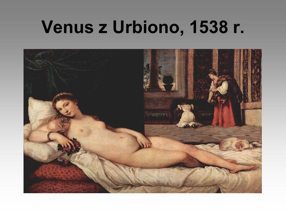 Wenus z Urbiono, inny tytuł - Wenus z pieskiem Wenus z pieskiem jest wspaniałym aktem kobiecym, emanującym zmysłową, leniwą biernością, złocisty, miękki kształt ciała spoczywającego na pofałdowanym prześcieradle, którego biel kontrastuje z czerwienią pokrytego aksamitem łoża.