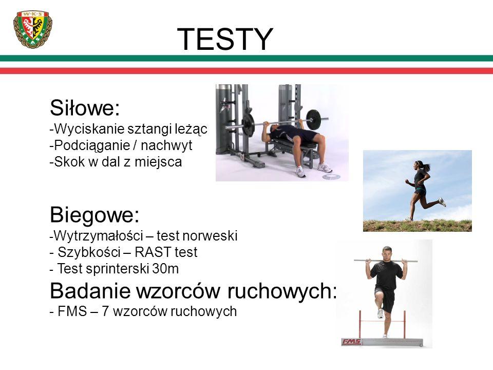 TESTY Siłowe: -Wyciskanie sztangi leżąc -Podciąganie / nachwyt -Skok w dal z miejsca Biegowe: - Wytrzymałości – test norweski - Szybkości – RAST test