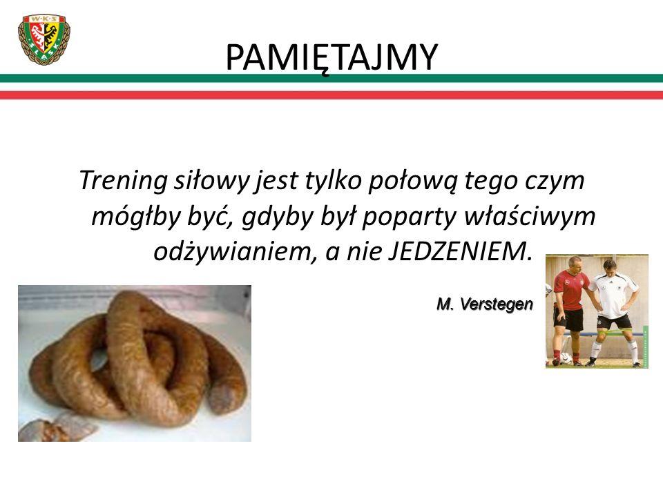 PAMIĘTAJMY Trening siłowy jest tylko połową tego czym mógłby być, gdyby był poparty właściwym odżywianiem, a nie JEDZENIEM. M. Verstegen