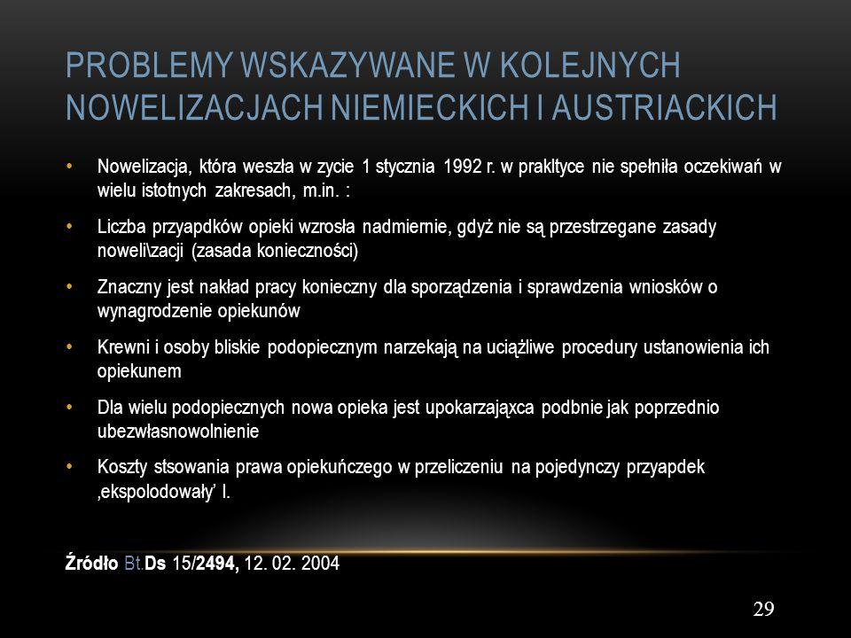 PROBLEMY WSKAZYWANE W KOLEJNYCH NOWELIZACJACH NIEMIECKICH I AUSTRIACKICH 29 Nowelizacja, która weszła w zycie 1 stycznia 1992 r. w prakltyce nie spełn