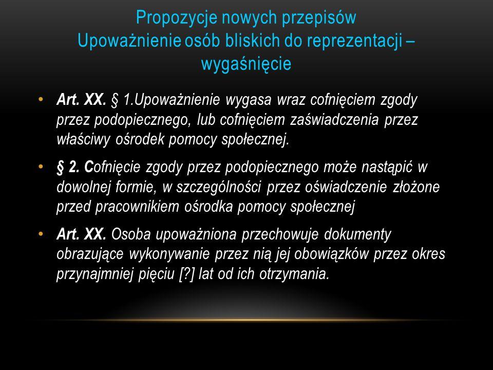 Propozycje nowych przepisów Upoważnienie osób bliskich do reprezentacji – wygaśnięcie Art. XX. § 1.Upoważnienie wygasa wraz cofnięciem zgody przez pod
