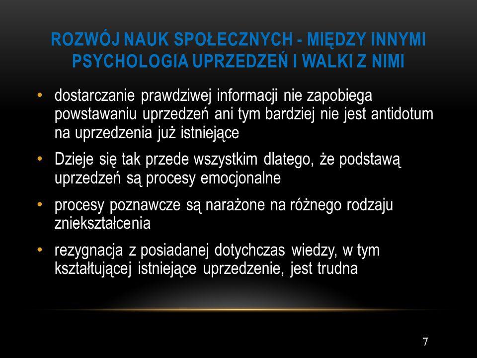 ROZWÓJ NAUK SPOŁECZNYCH - MIĘDZY INNYMI PSYCHOLOGIA UPRZEDZEŃ I WALKI Z NIMI dostarczanie prawdziwej informacji nie zapobiega powstawaniu uprzedzeń an