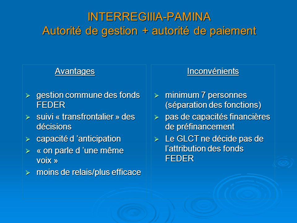 INTERREGIIIA-PAMINA Autorité de gestion + autorité de paiement Avantages gestion commune des fonds FEDER gestion commune des fonds FEDER suivi « trans