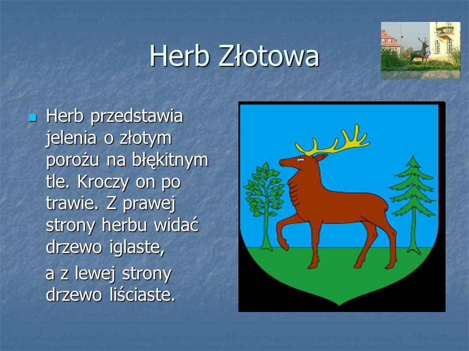 Herb Złotowa Herb przedstawia jelenia o złotym porożu na błękitnym tle. Kroczy on po trawie. Z prawej strony herbu widać drzewo iglaste, Herb przedsta