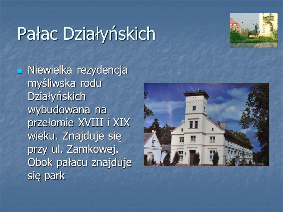 Pałac Działyńskich Niewielka rezydencja myśliwska rodu Działyńskich wybudowana na przełomie XVIII i XIX wieku. Znajduje się przy ul. Zamkowej. Obok pa