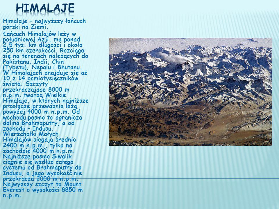 Składa się z trzech głównych pasm: Wielkie Himalaje na północy, Małe Himalaje w środku i Siwalik na południu.