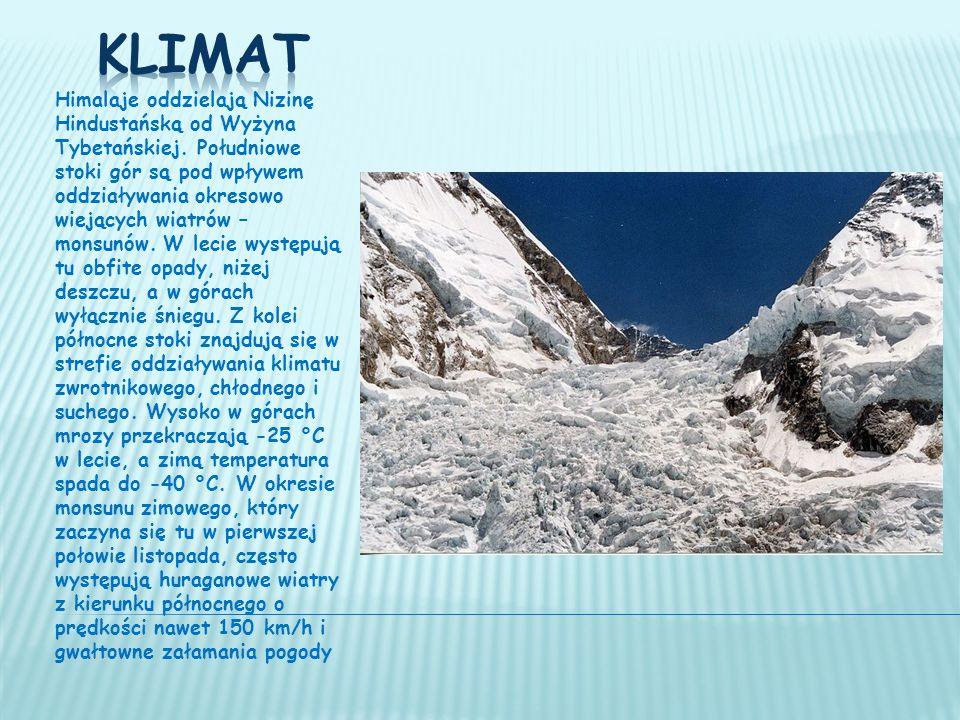 Himalaje oddzielają Nizinę Hindustańską od Wyżyna Tybetańskiej.