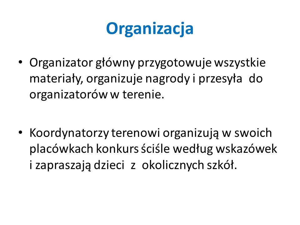 Organizacja Organizator główny przygotowuje wszystkie materiały, organizuje nagrody i przesyła do organizatorów w terenie. Koordynatorzy terenowi orga