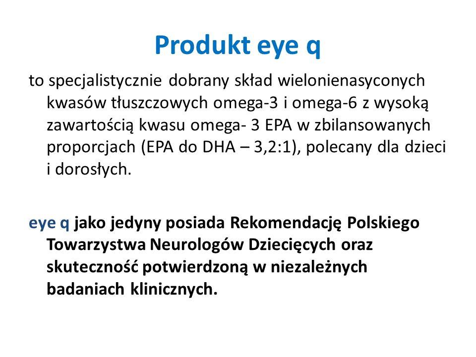 Produkt eye q to specjalistycznie dobrany skład wielonienasyconych kwasów tłuszczowych omega-3 i omega-6 z wysoką zawartością kwasu omega- 3 EPA w zbi