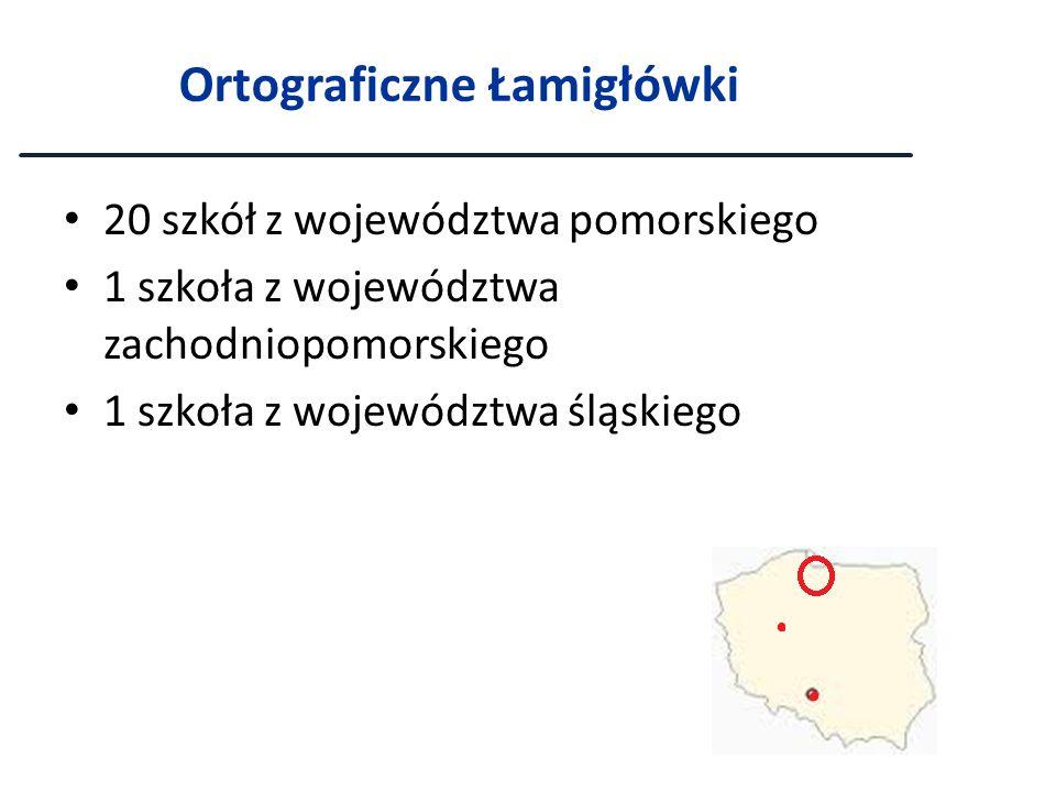 Ortograficzne Łamigłówki 20 szkół z województwa pomorskiego 1 szkoła z województwa zachodniopomorskiego 1 szkoła z województwa śląskiego