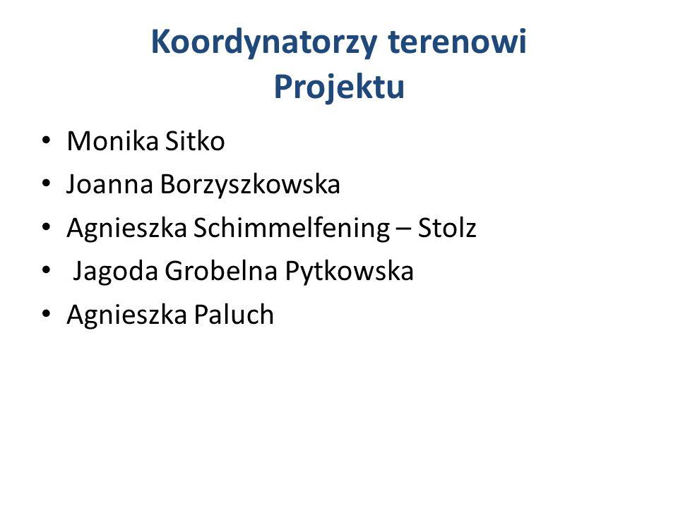 Koordynatorzy terenowi Projektu Monika Sitko Joanna Borzyszkowska Agnieszka Schimmelfening – Stolz Jagoda Grobelna Pytkowska Agnieszka Paluch