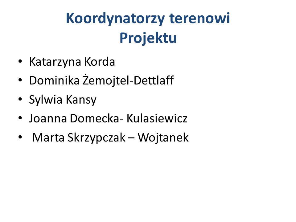 Koordynatorzy terenowi Projektu Katarzyna Korda Dominika Żemojtel-Dettlaff Sylwia Kansy Joanna Domecka- Kulasiewicz Marta Skrzypczak – Wojtanek
