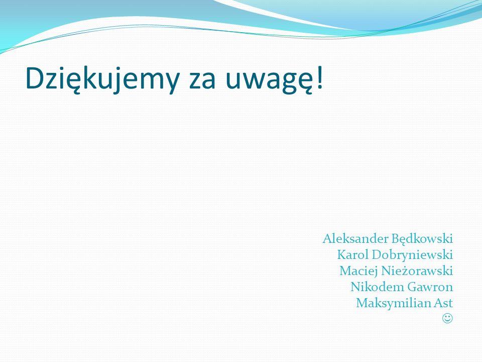 Dziękujemy za uwagę! Aleksander Będkowski Karol Dobryniewski Maciej Nieżorawski Nikodem Gawron Maksymilian Ast