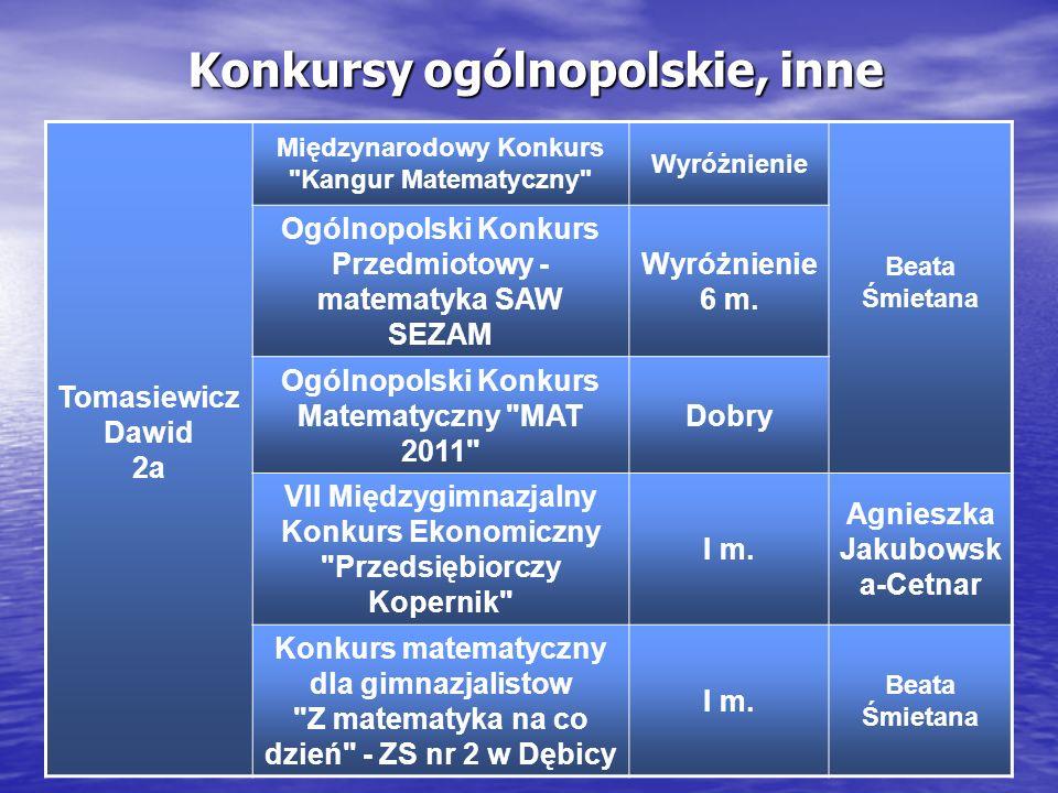 Konkursy ogólnopolskie, inne Tomasiewicz Dawid 2a Międzynarodowy Konkurs