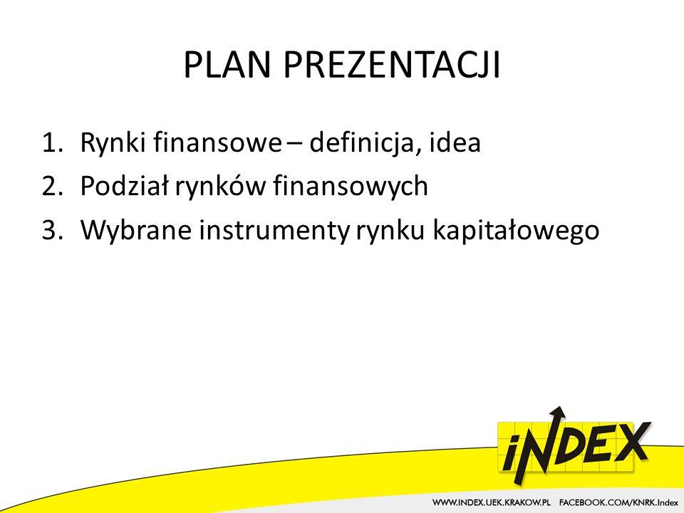PLAN PREZENTACJI 1.Rynki finansowe – definicja, idea 2.Podział rynków finansowych 3.Wybrane instrumenty rynku kapitałowego