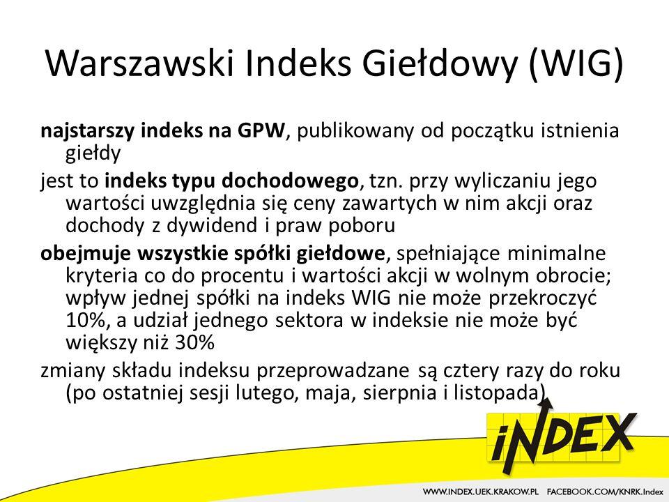 Warszawski Indeks Giełdowy (WIG) najstarszy indeks na GPW, publikowany od początku istnienia giełdy jest to indeks typu dochodowego, tzn.