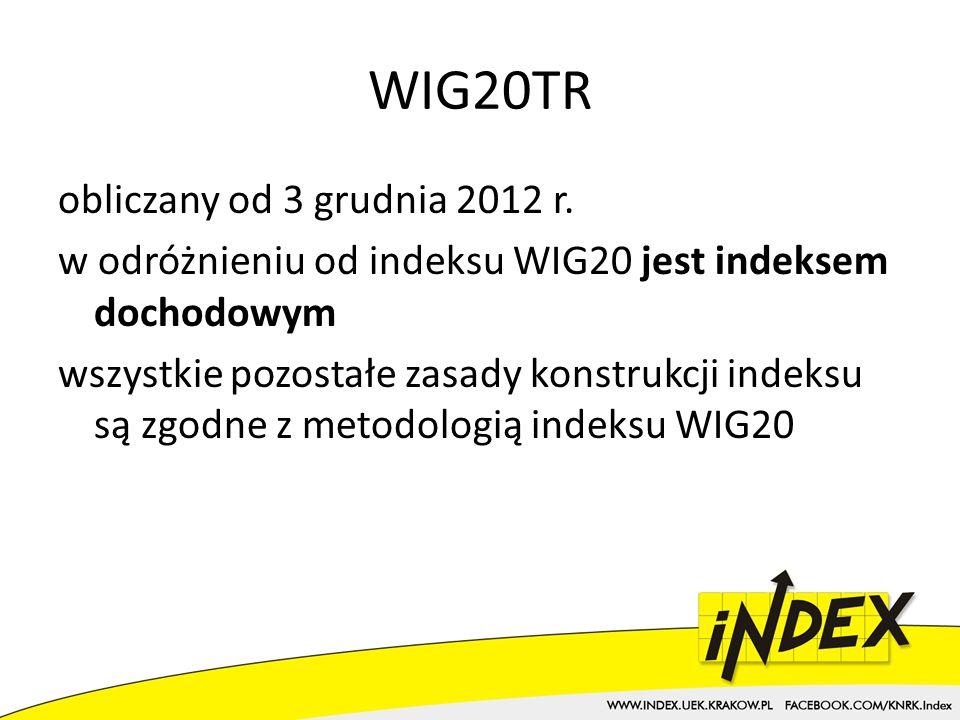 WIG20TR obliczany od 3 grudnia 2012 r.